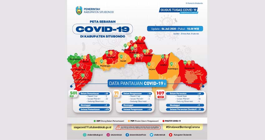 BERTAMBAH 10 ORANG POSITIF COVID-19: Peta Sebaran Covid-19 Kabupaten Situbondo. (im)