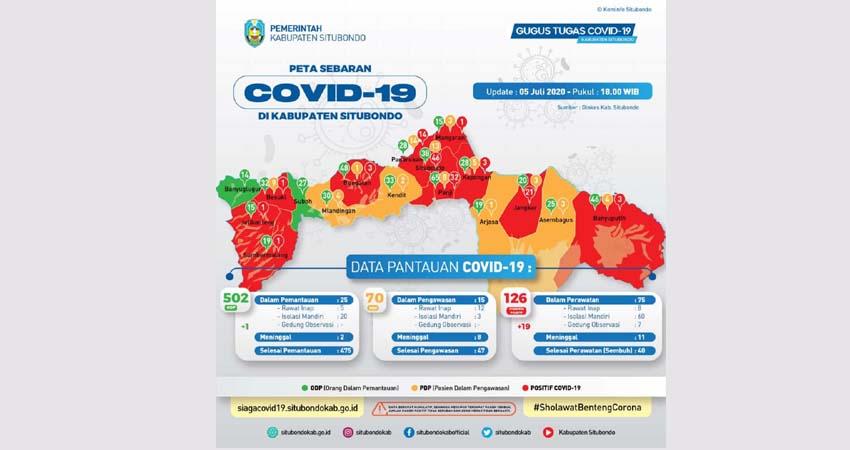 BERTAMBAH 19 ORANG POSITIF COVID-19: Peta Sebaran Covid-19 Kabupaten Situbondo. (im)